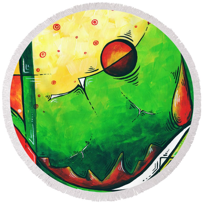 Abstract Round Beach Towel featuring the painting Abstract Pop Art Original Painting by Megan Duncanson