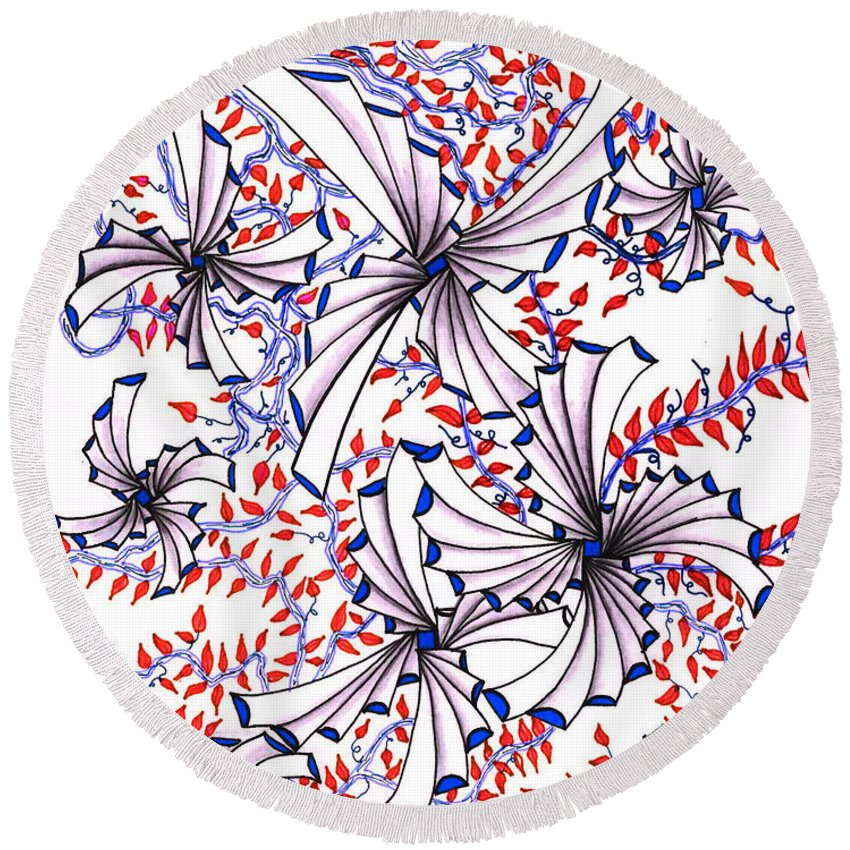 Abstract Round Beach Towel featuring the drawing Abstract Red And Blue Design by Eric Strickland