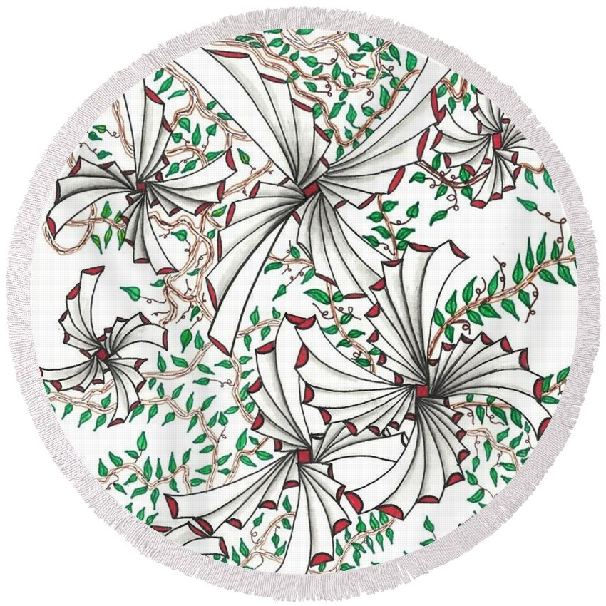 Abstract Round Beach Towel featuring the drawing Abstract Red And Green Design by Eric Strickland