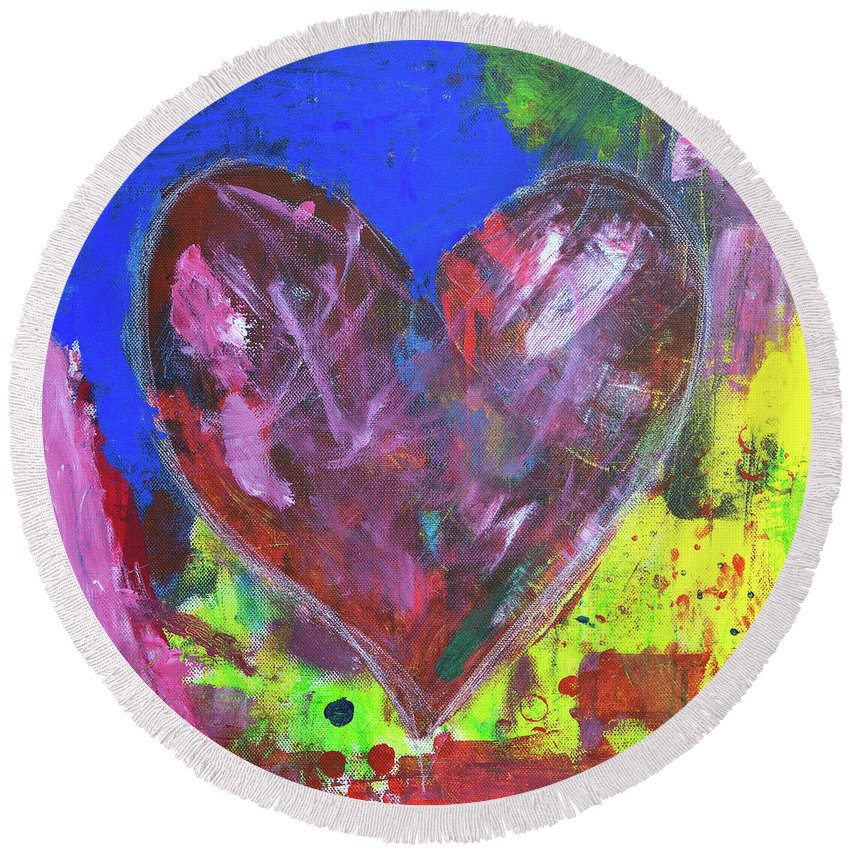 Painting Round Beach Towel featuring the painting Abstract Red Heart Acrylic Painting by Karen Kaspar