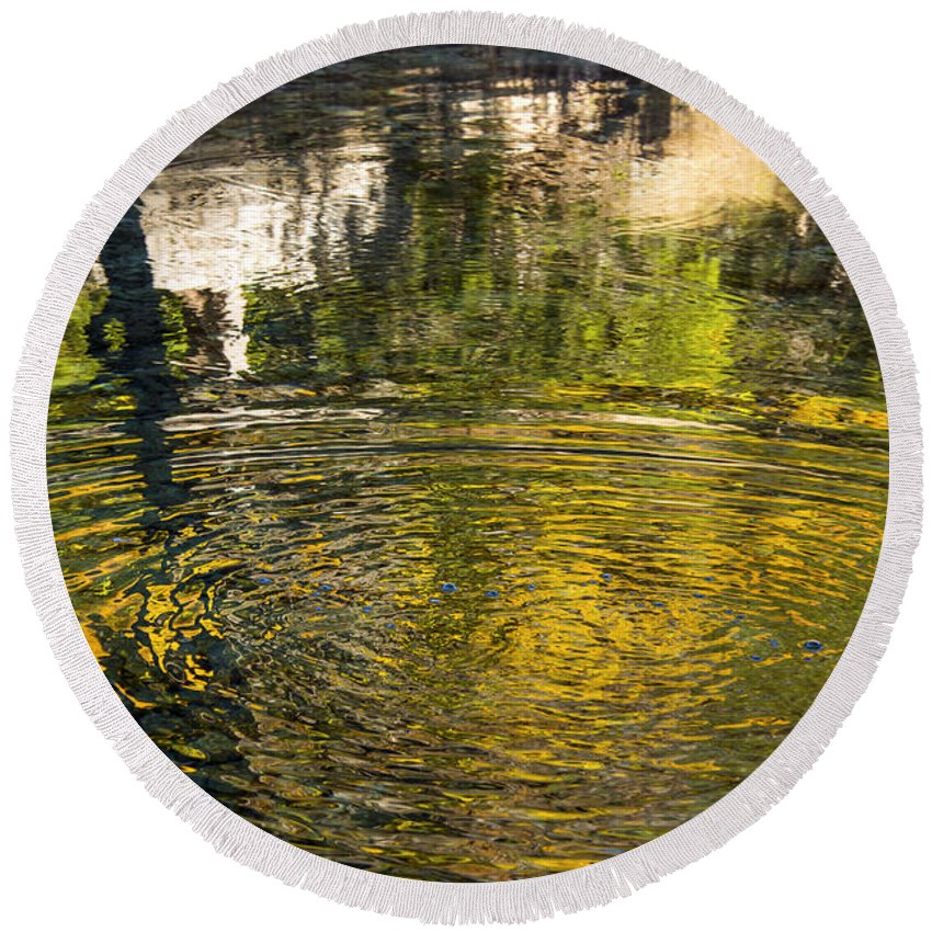 Lost Maples State Natural Area Texas Park Parks Maple Tree Trees Leaves Leaf Fall Autumn Reflection Reflections Water Sabinal River Rivers Whirlpool Whirlpools Round Beach Towel featuring the photograph Abstract River Reflection by Bob Phillips