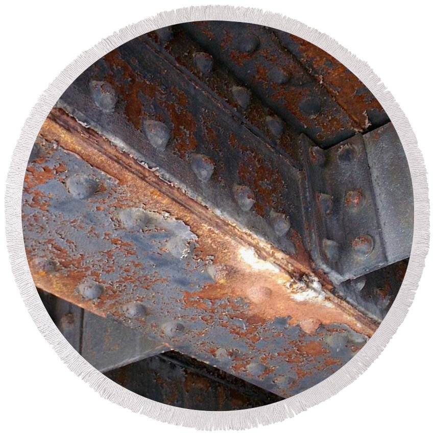 Urban Round Beach Towel featuring the photograph Abstract Rust 3 by Anita Burgermeister