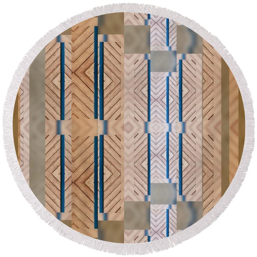 Wood And Blue Round Beach Towel featuring the photograph Wood And Blue by Sandy Taylor
