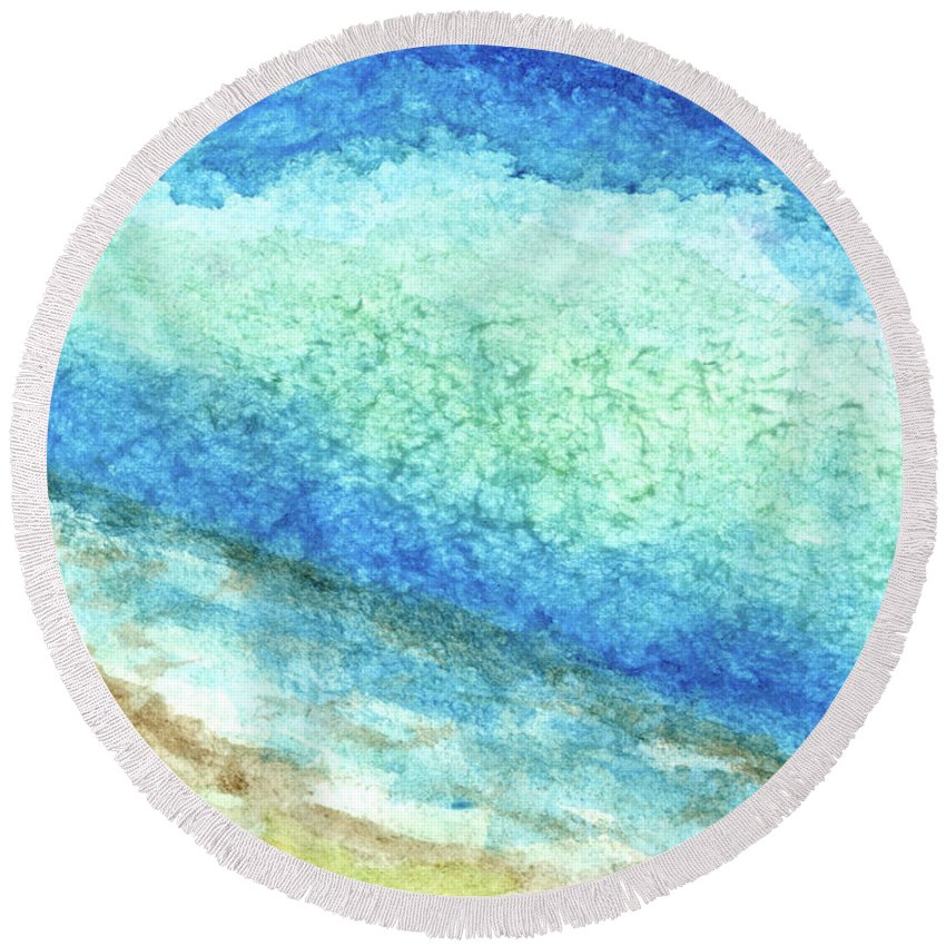 Abstract Round Beach Towel featuring the painting Abstract Seascape Beach Painting A1 by Ricardos Creations