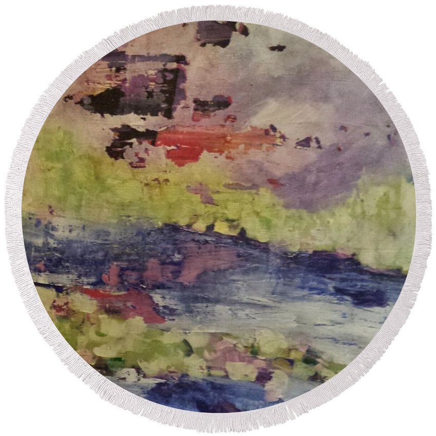 Abstract Round Beach Towel featuring the painting Abstract Series Dreaming by Sherry Harradence