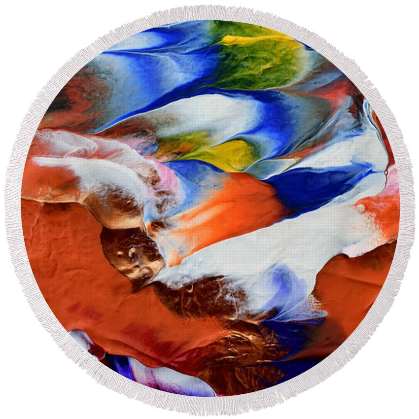 Martha Round Beach Towel featuring the painting Abstract Series N1015al by Mas Art Studio