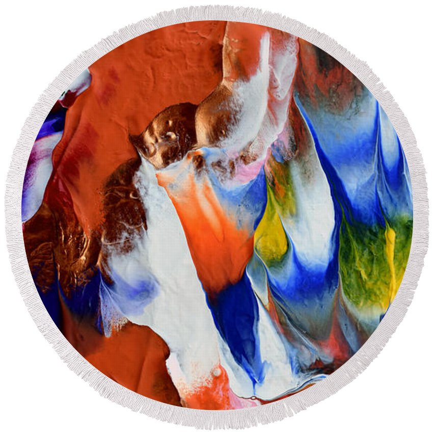 Martha Round Beach Towel featuring the painting Abstract Series N1015bp Copy by Mas Art Studio
