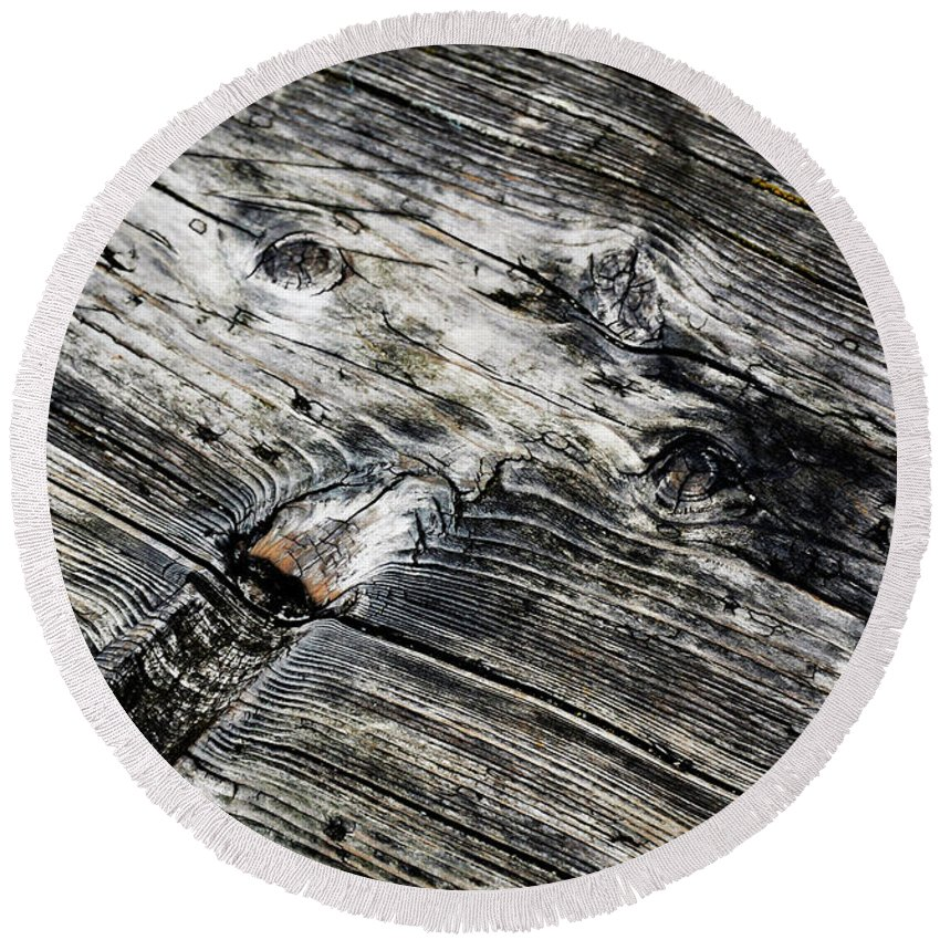 Backdrop Round Beach Towel featuring the photograph Abstract Shapes On An Old Weathered Wooden Board by Jozef Jankola