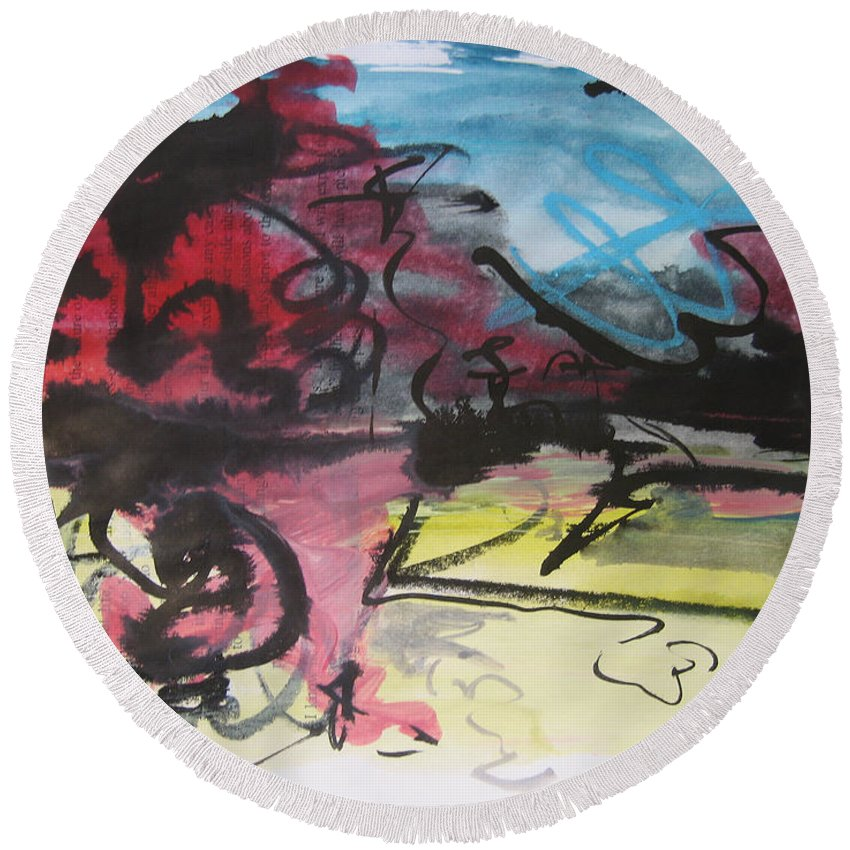 Landscape Painting Round Beach Towel featuring the painting Abstract Sketch18 by Seon-Jeong Kim
