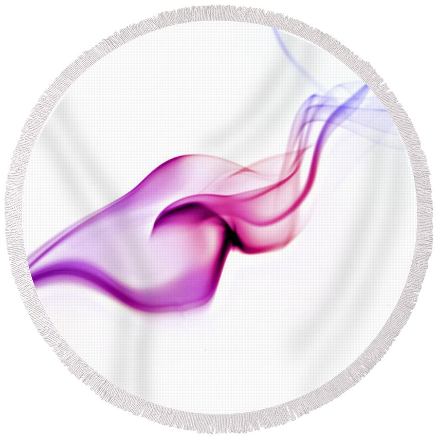 Purple Round Beach Towel featuring the photograph Abstract Smoke by Yedidya yos mizrachi
