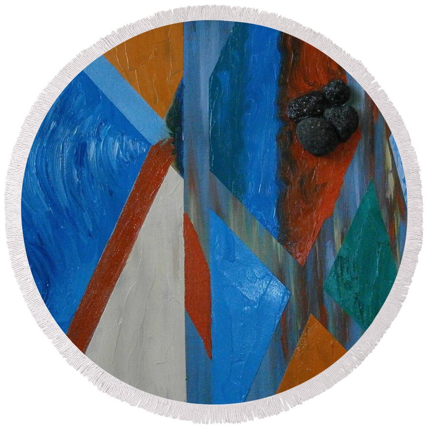 Abstract Painting Round Beach Towel featuring the mixed media Abstract Space by Maria Woithofer