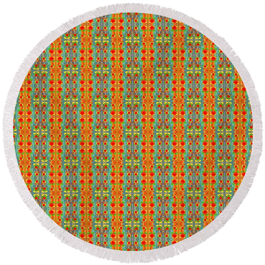 Abstract Round Beach Towel featuring the painting Abstract Square 56 by Patrick J Murphy
