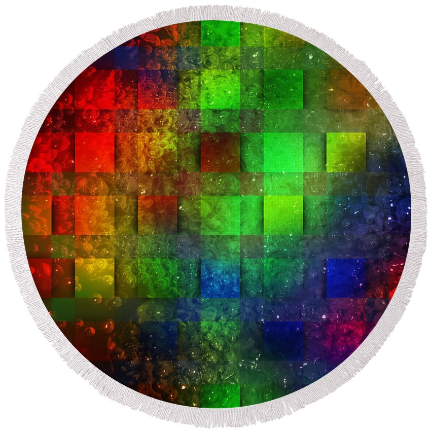 Abstract Round Beach Towel featuring the photograph Square Bubbles by Barbara Dudzinska