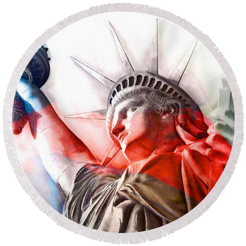 Statue Of Liberty Round Beach Towel featuring the painting S T A T U E . O F . L I B E R T Y . Abstract 1 by J - O  N  E