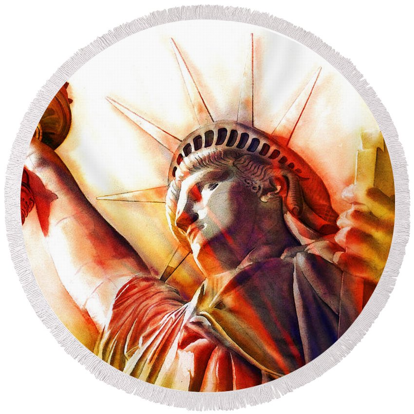 Statue Of Liberty Round Beach Towel featuring the digital art S T A T U E . O F . L I B E R T Y . Abstract 2 by J - O  N  E
