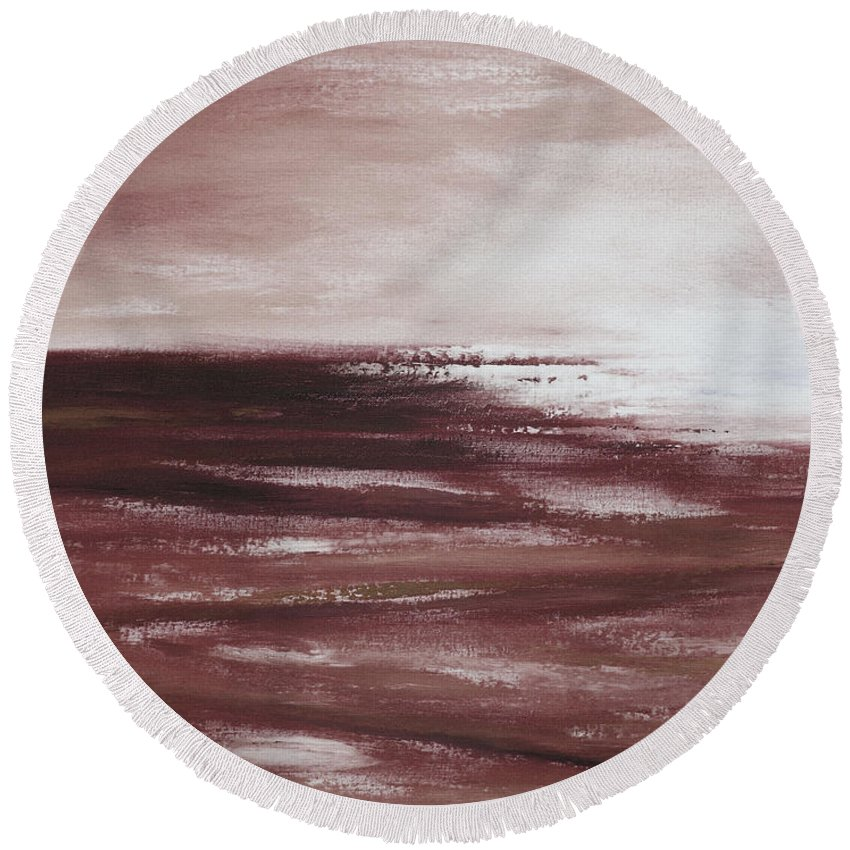 Abstract Round Beach Towel featuring the painting Abstract Sunset In Brown Reds by Gina De Gorna