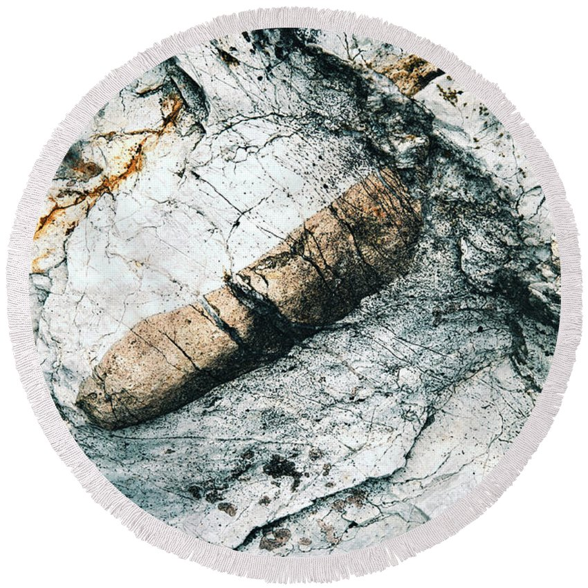 Hard Round Beach Towel featuring the photograph Abstract Surface Limestone With Rocks by Jozef Jankola