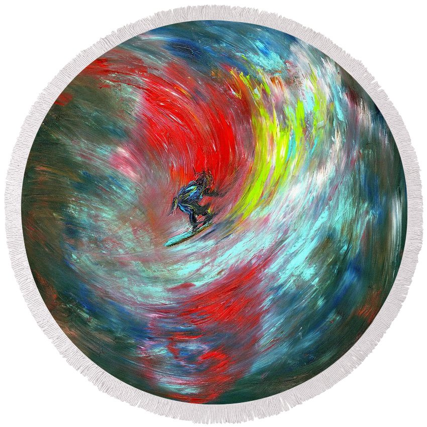 Surfer Round Beach Towel featuring the painting Abstract Surfer by Paul Emig