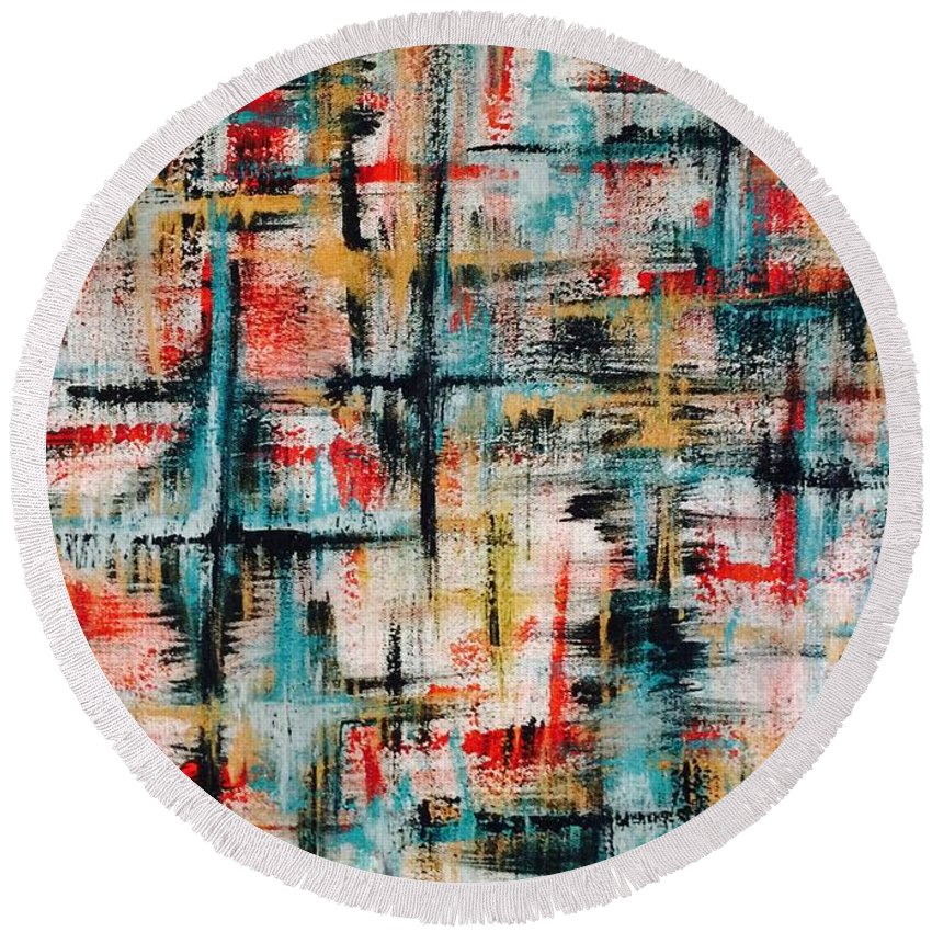 Teal Round Beach Towel featuring the painting Abstract Teal Crosses by Laura Parker