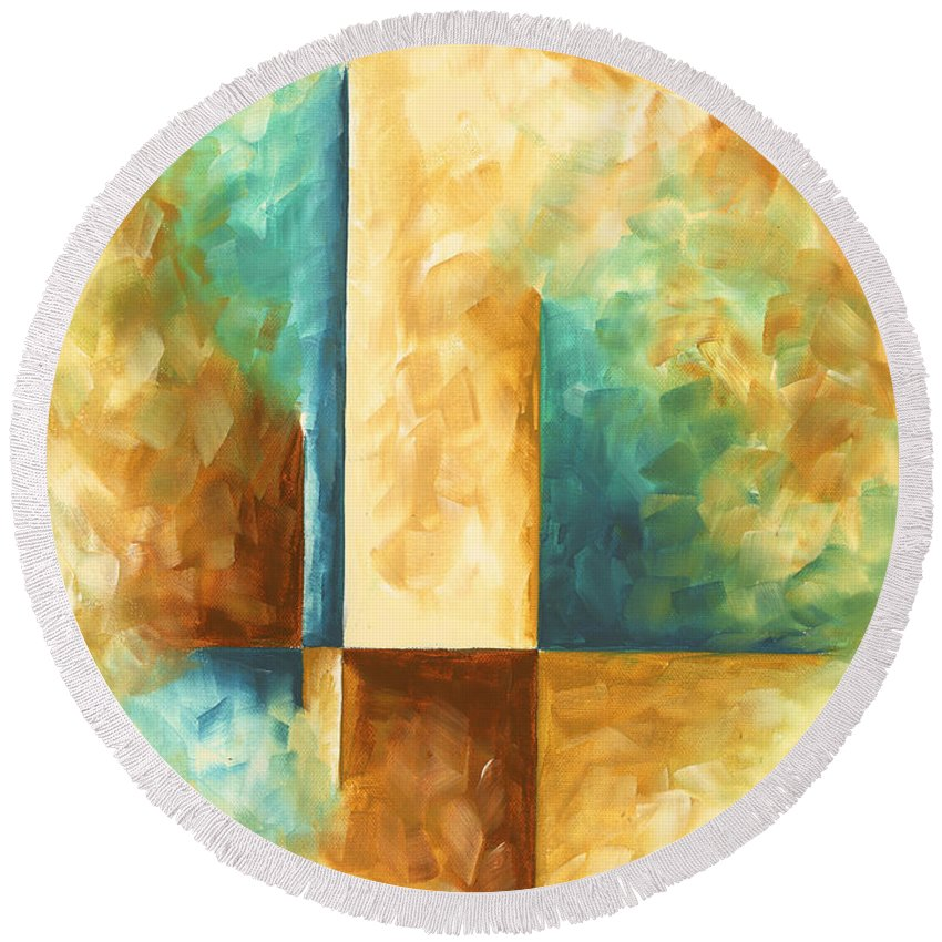 Abstract Teal Golden Rust Minimalist Contemporary Pop Art Painting ...