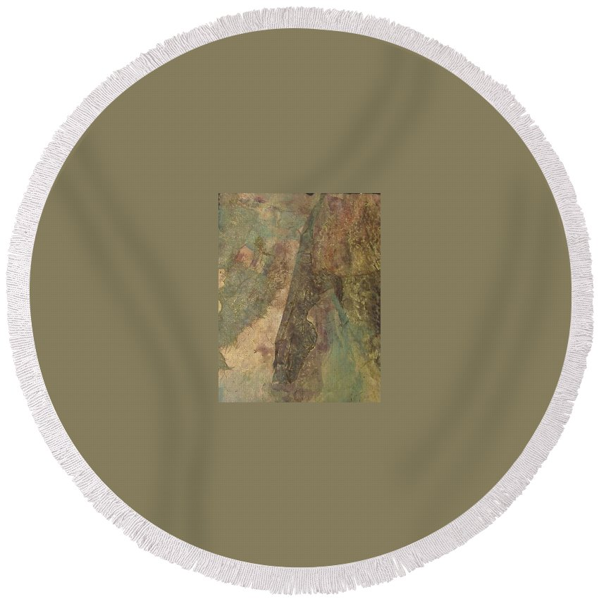 Abstract Round Beach Towel featuring the mixed media Abstract Three by Pat Snook