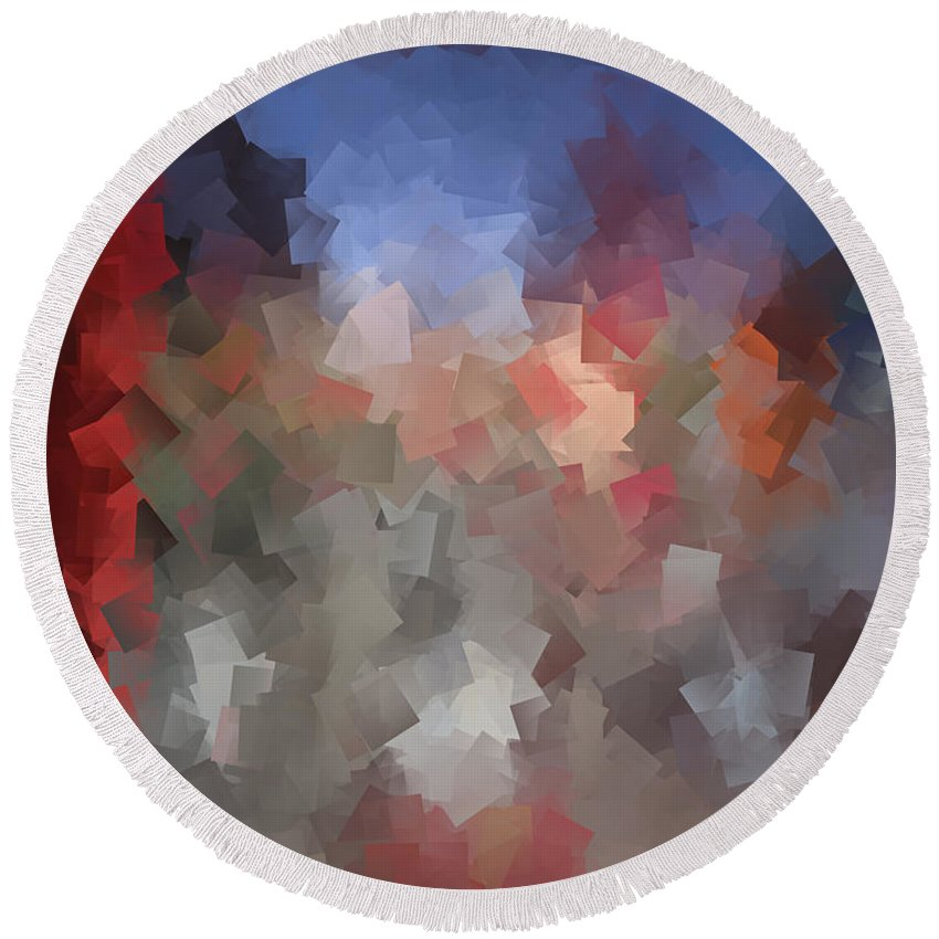 Abstract Round Beach Towel featuring the digital art Red And Blue - Abstract Tiles No. 16.0110 by Jason Freedman