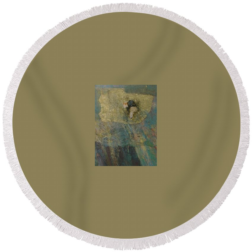 Abstract Round Beach Towel featuring the mixed media Abstract Two by Pat Snook
