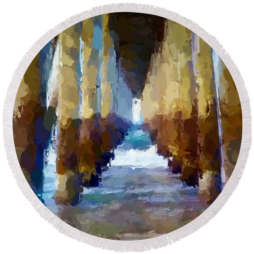 Anthony Fishburne Round Beach Towel featuring the mixed media Abstract Under Pier Beach by Anthony Fishburne