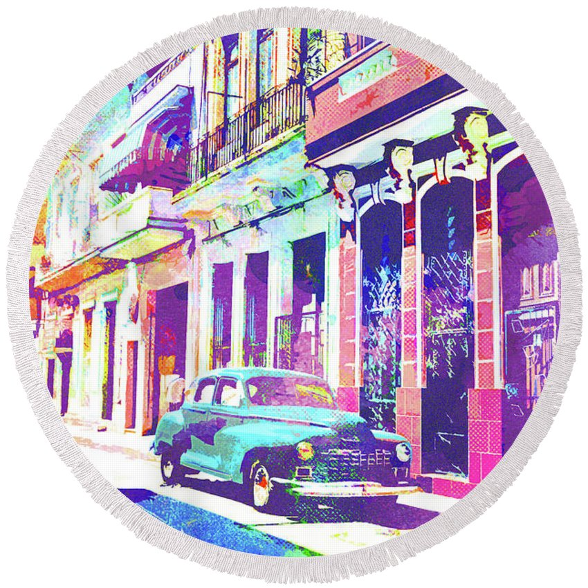 Havana Round Beach Towel featuring the mixed media Abstract Watercolor - Havana Cuba Classic Car I by Chris Andruskiewicz