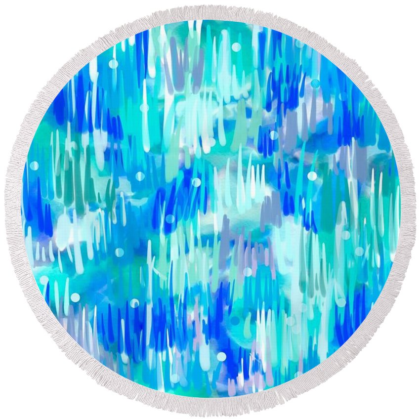 Abstract Round Beach Towel featuring the digital art Abstract Winter by Cristina Stefan