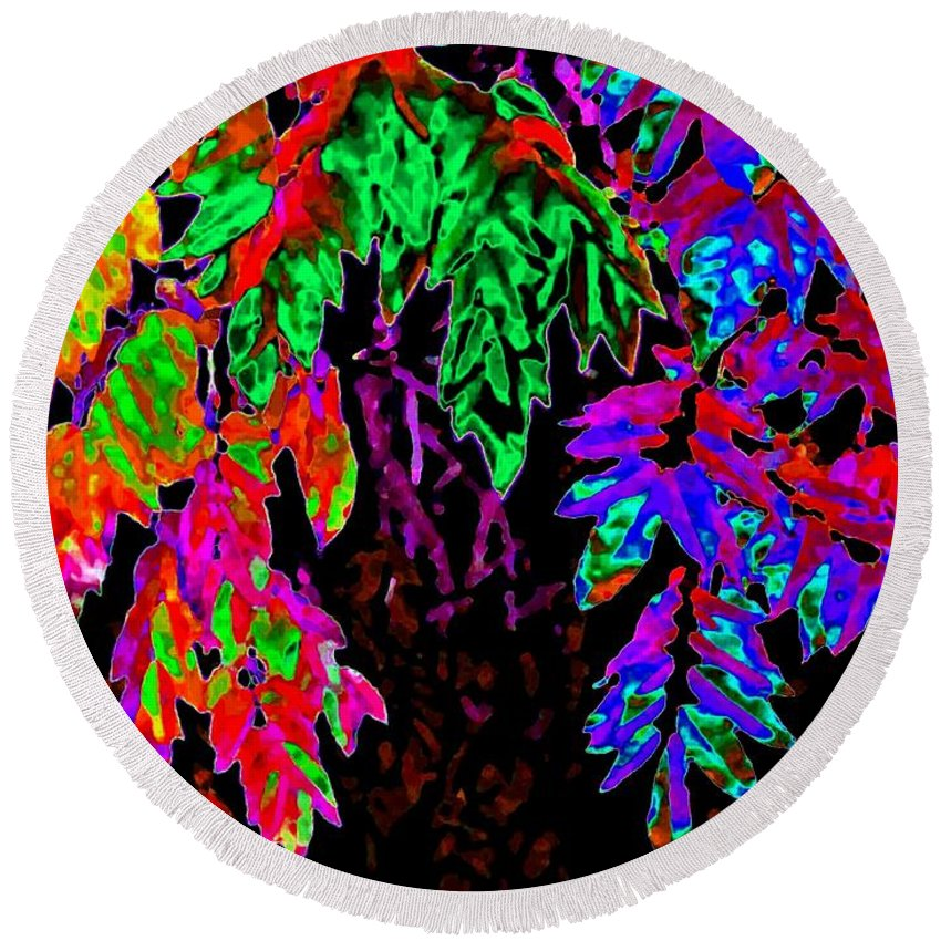 Abstract Round Beach Towel featuring the digital art Abstract Wisteria by Will Borden