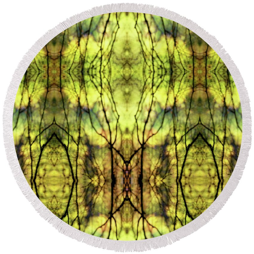 Camouflage Round Beach Towel featuring the photograph Abstract Yellow Trees by Jon Delorme