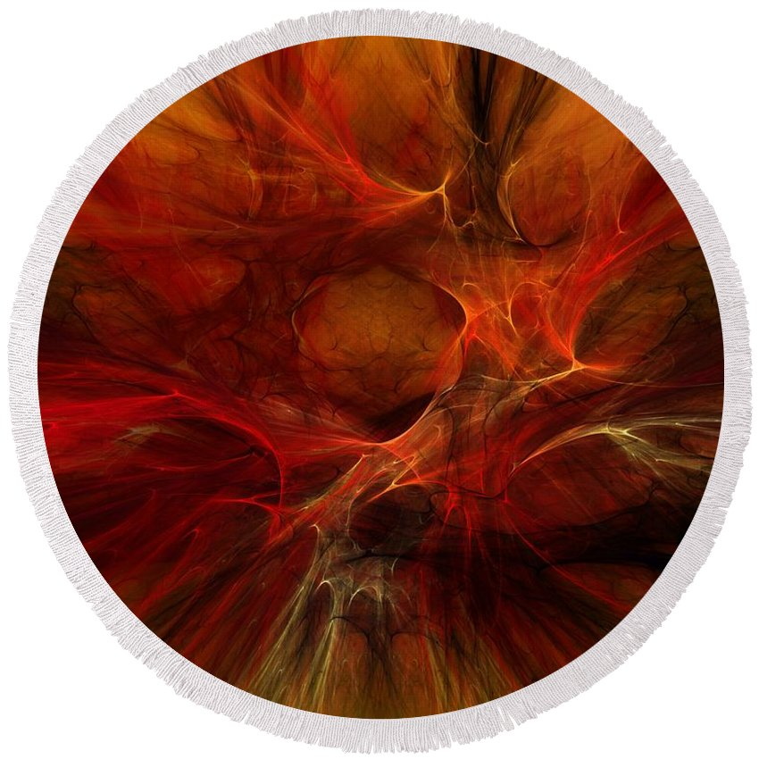 Digital Painting Round Beach Towel featuring the digital art Abstract0610b by David Lane