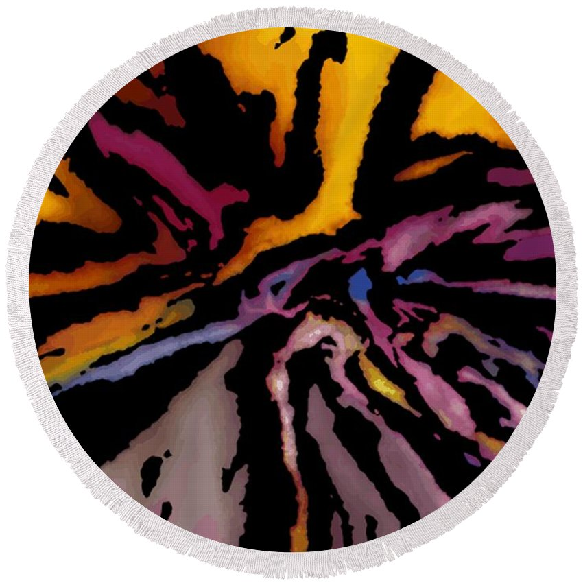 Abstract Round Beach Towel featuring the digital art Abstract309g by David Lane