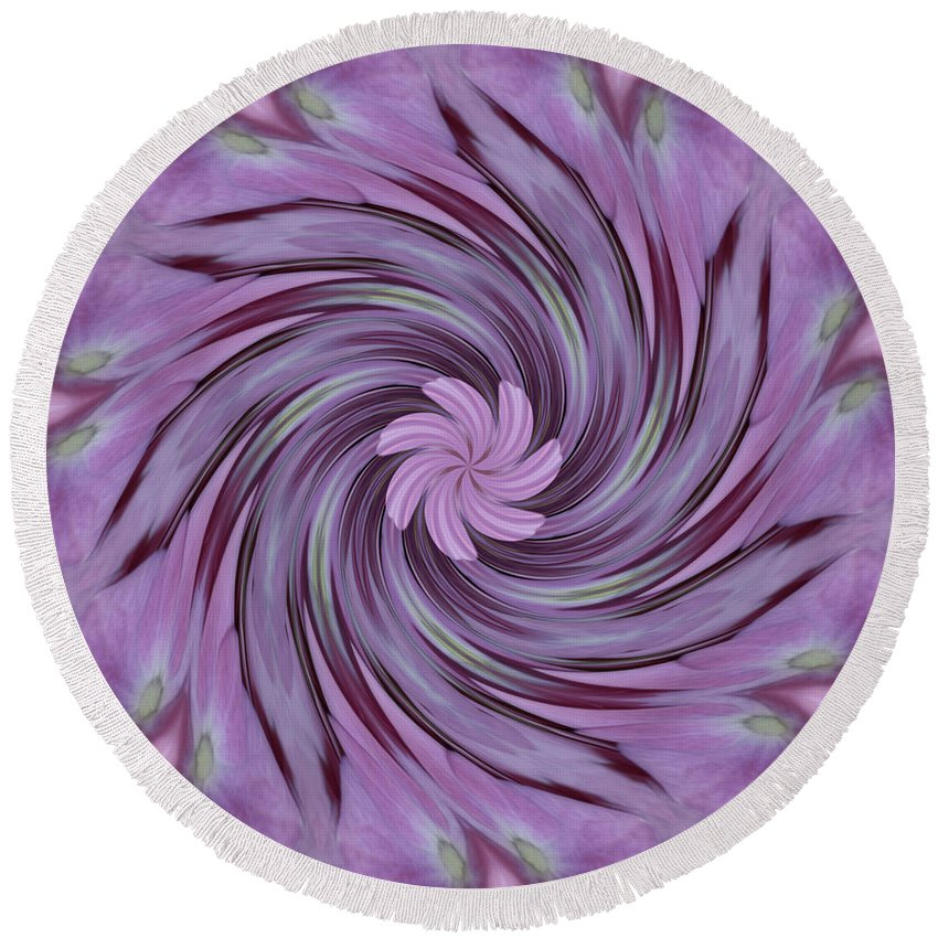 Pattern Round Beach Towel featuring the photograph Abstracted Twirl Pink Hydrangea Flowers by Taiche Acrylic Art