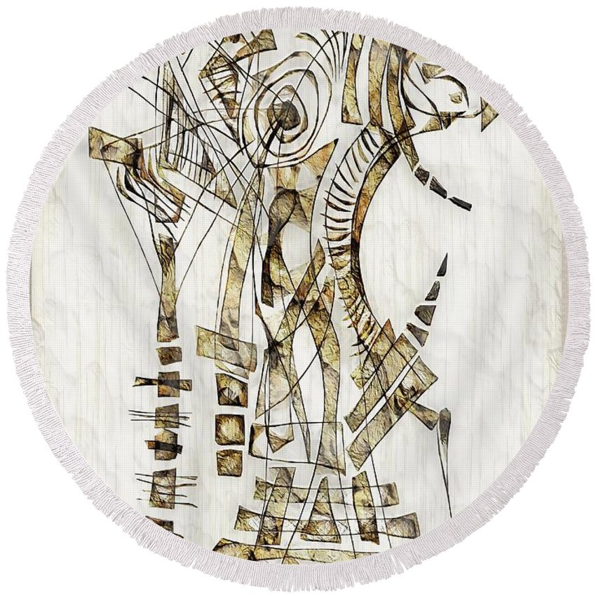 Abstraction Round Beach Towel featuring the digital art Abstraction 2562 by Marek Lutek