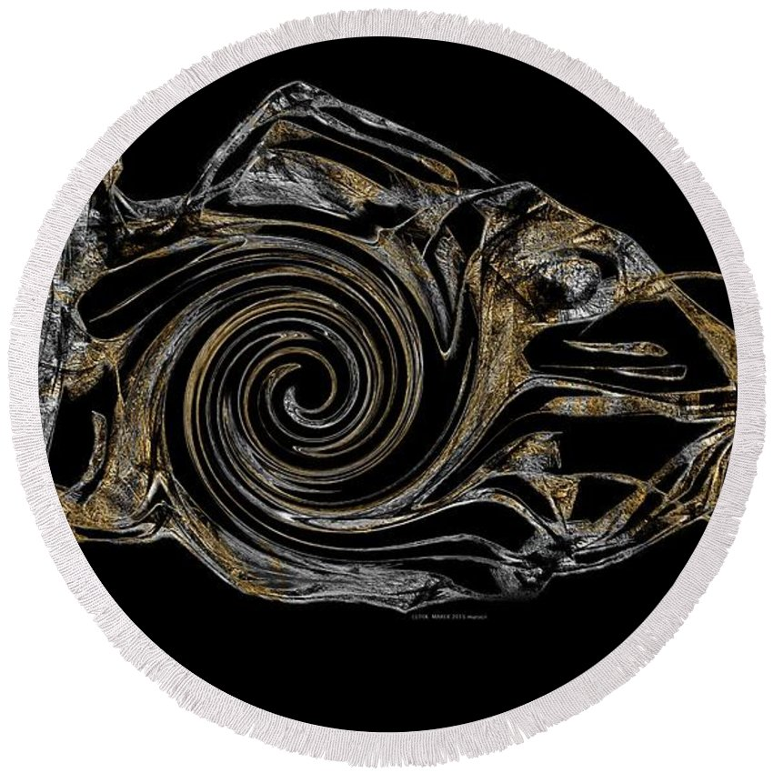 Abstraction Round Beach Towel featuring the digital art Abstraction 2983 by Marek Lutek