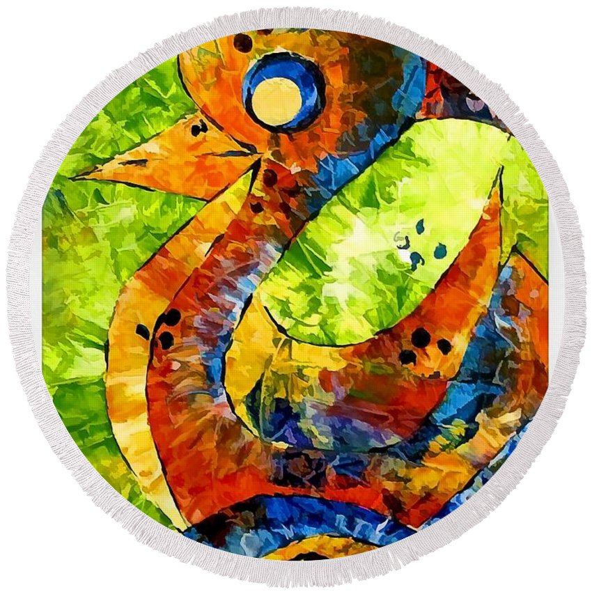 Abstraction Round Beach Towel featuring the digital art Abstraction 3199 by Marek Lutek