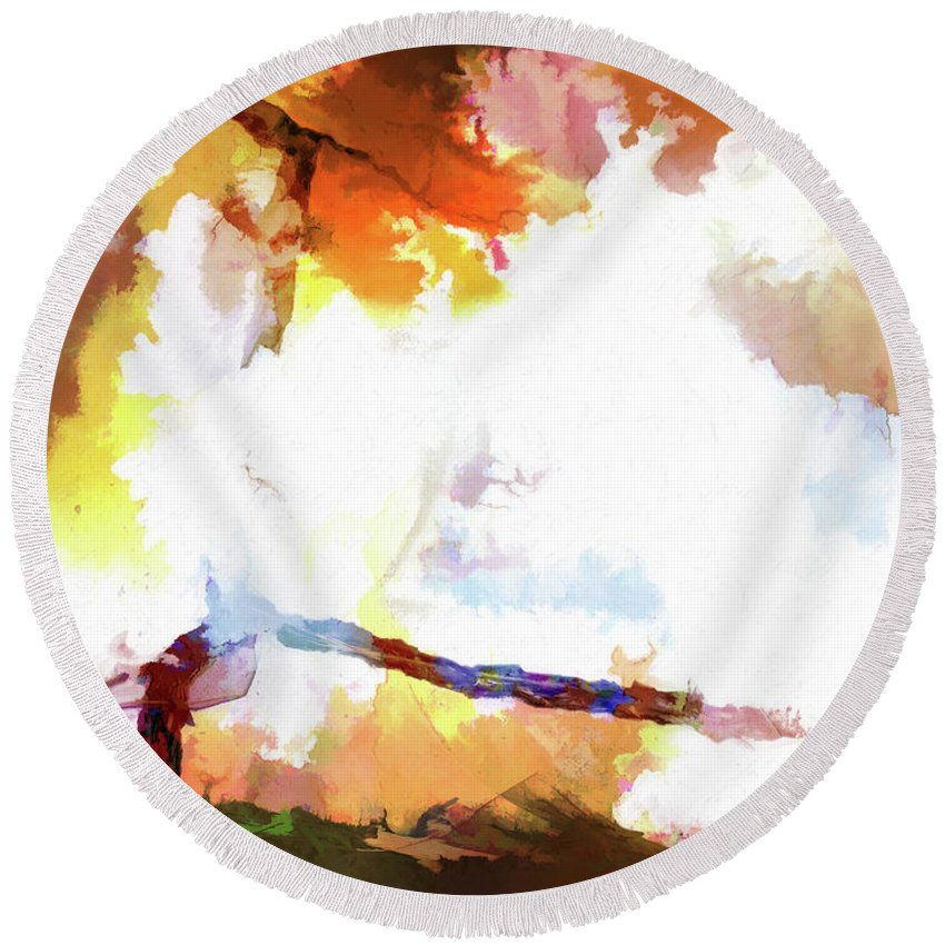 Surreal Round Beach Towel featuring the digital art Abstraction #37 by Kim Curinga