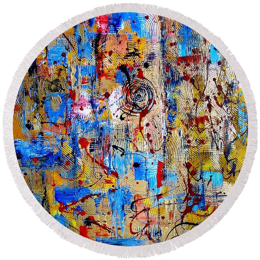 Abstraction Round Beach Towel featuring the digital art Abstraction 763 - Marucii by Marek Lutek
