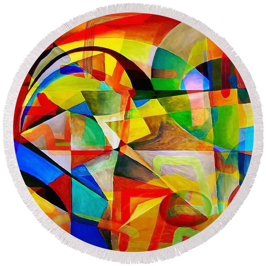 Abstraction Round Beach Towel featuring the digital art Abstraction 776 - Marucii by Marek Lutek