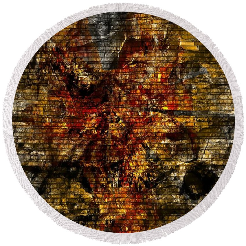 Abstraction Round Beach Towel featuring the digital art Abstraction 827 - Marucii by Marek Lutek