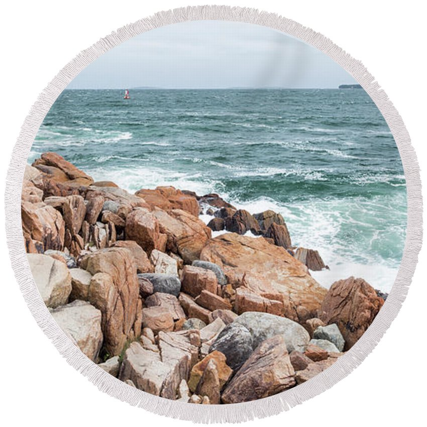 Cindy Archbell Round Beach Towel featuring the photograph Acadia Coastal Scene by Cindy Archbell