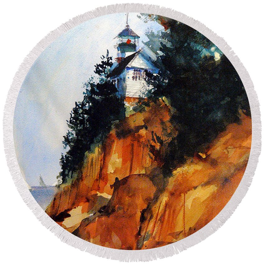 Acadia. Acadian Round Beach Towel featuring the painting Acadian Lighthouse by Charles Rowland