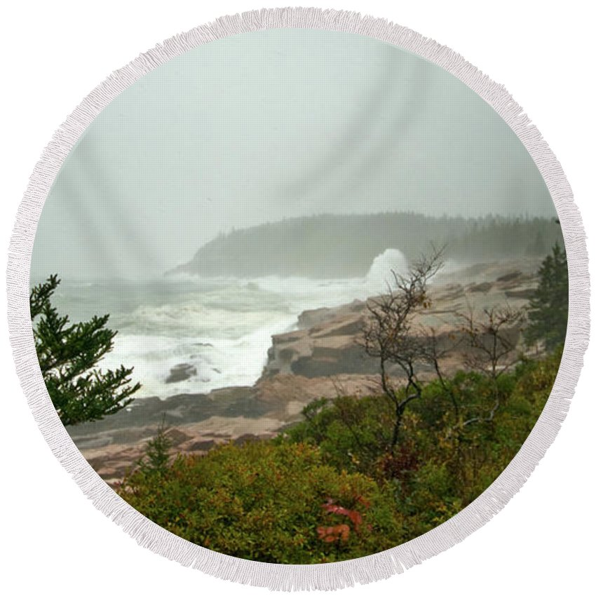 nor' Easter Round Beach Towel featuring the photograph Acadian Storm by Paul Mangold