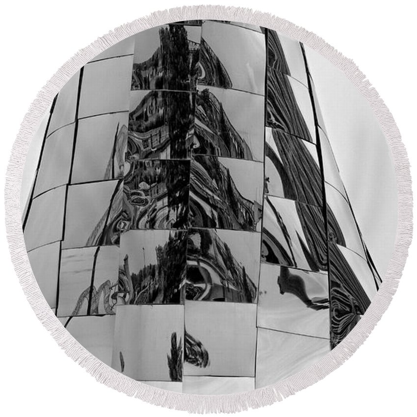 Metal Sculpture Round Beach Towel featuring the photograph Acconcini Sculpture Opus 1 by Fred Hahn