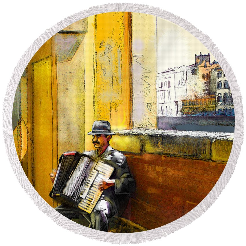 Music Round Beach Towel featuring the painting Accordeonist In Florence In Italy by Miki De Goodaboom