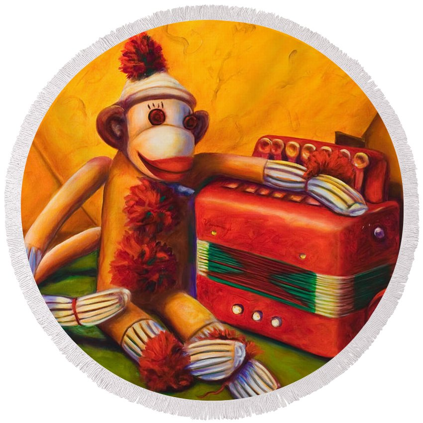 Children Round Beach Towel featuring the painting Accordion by Shannon Grissom
