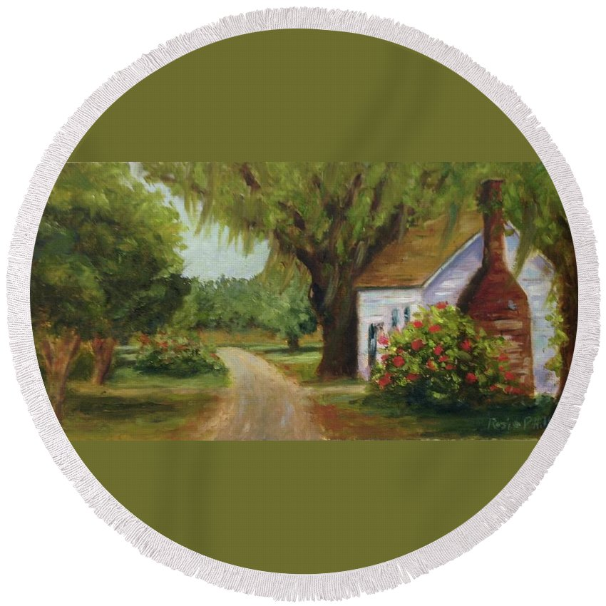 This Is A Little Out Building Off Of Grove Plantation Home At Ace Basin Close To Charleston Round Beach Towel featuring the painting Ace Basin Cottage by Rosie Phillips