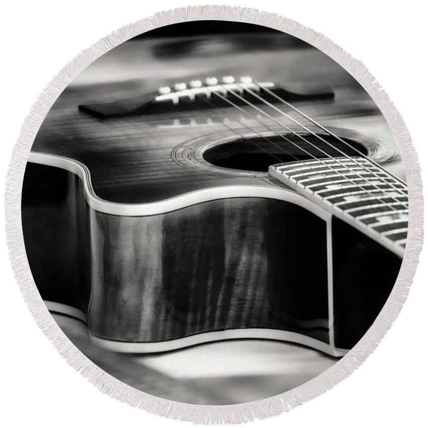 Music Round Beach Towel featuring the photograph Acoustic Noir by Mark David Gerson
